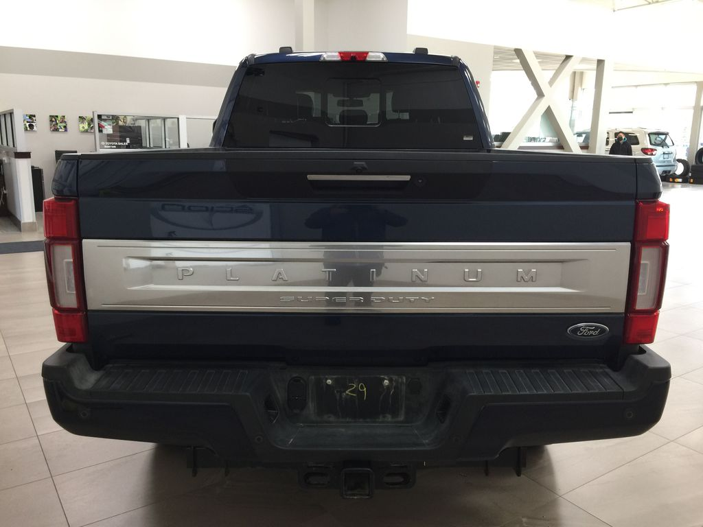 Blue 2020 Ford F-350 Crew Cab / PLATINUM / CREWCAB / 5TH WHEEL PREP PACK Rear of Vehicle Photo in Sherwood Park AB