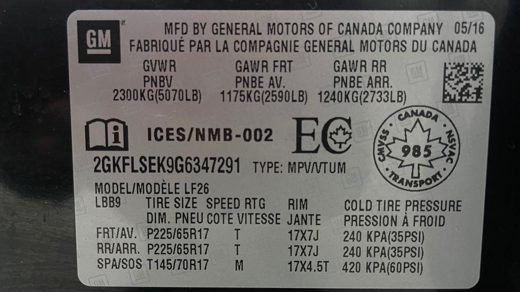 Black[Ebony Twilight Metallic] 2016 GMC Terrain SLE AWD - SUPER LOW KMS, Bluetooth, Backup Cam DOT Label Photo in Winnipeg MB