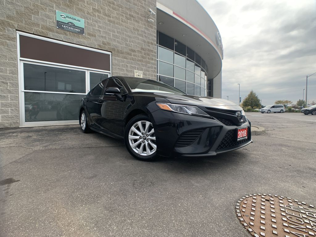 Black[Midnight Black Metallic] 2018 Toyota Camry clean Front Vehicle Photo in Brampton ON