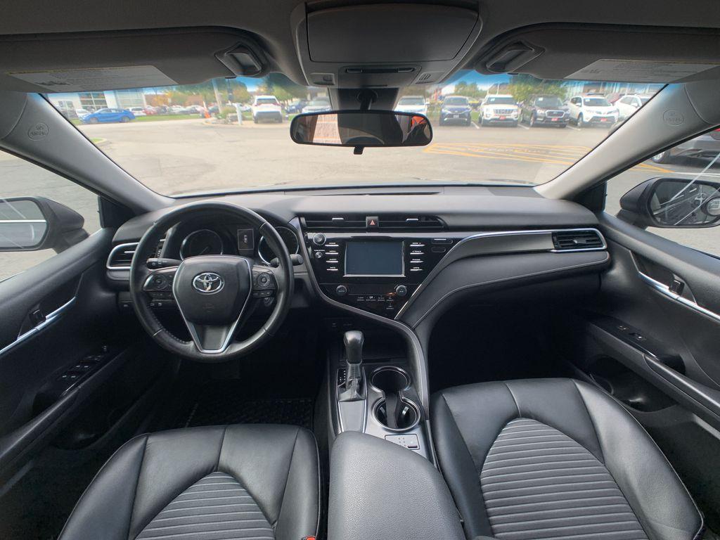 Black[Midnight Black Metallic] 2018 Toyota Camry clean Rear of Vehicle Photo in Brampton ON