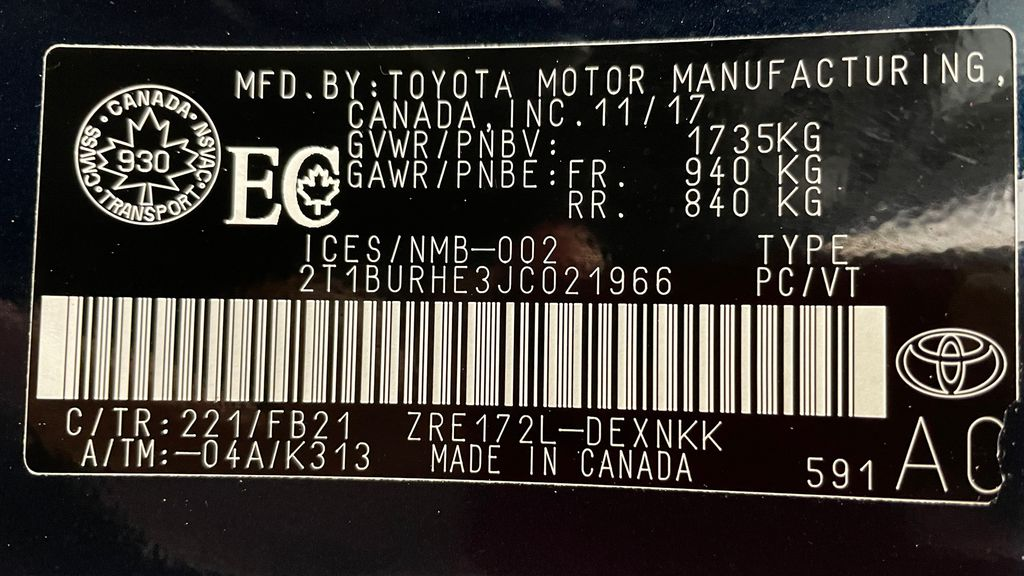 Blue[Galactic Aqua Mica] 2018 Toyota Corolla LE - Corolla Upgrade Package w/ Sunroof, Alloys DOT Label Photo in Winnipeg MB