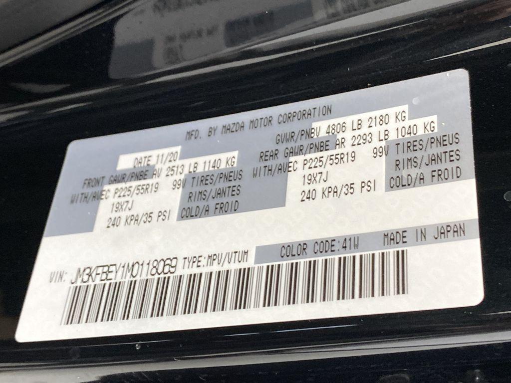 JET BLACK MICA 2021 Mazda CX-5 Signature AWD - Apple CarPlay, 360º Camera, Adaptive Cruise Window Sticker Photo in Edmonton AB