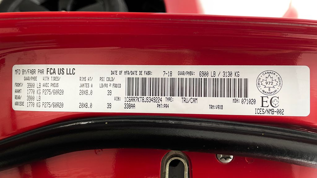 Red[Bright Red] 2018 Ram 1500 Express 4WD - Crew Cab, HEMI, RC Suspension Lift DOT Label Photo in Winnipeg MB