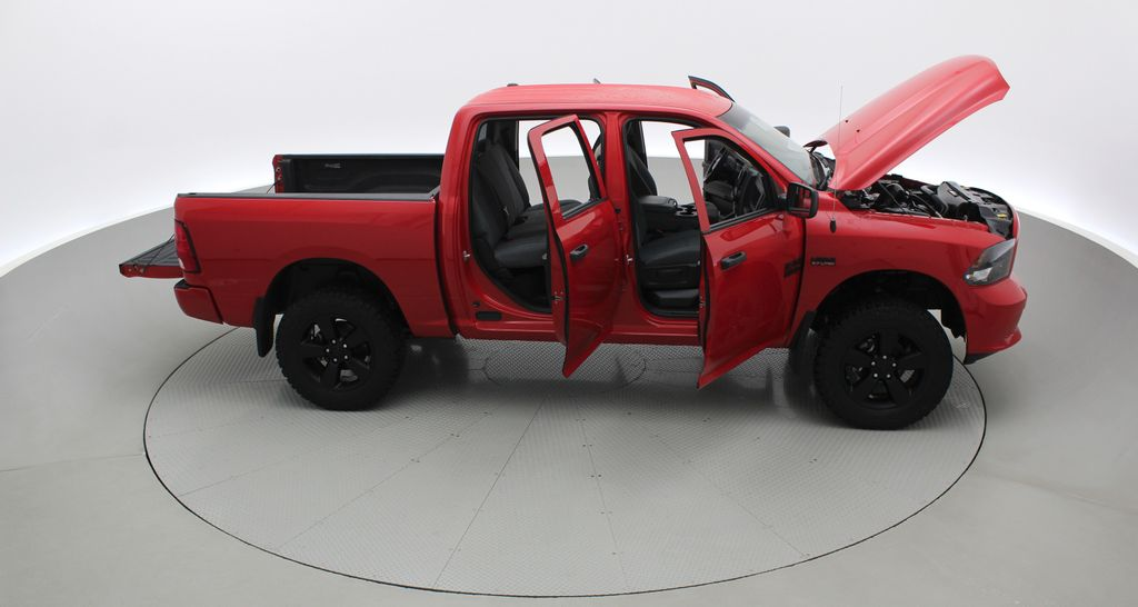 Red[Bright Red] 2018 Ram 1500 Express 4WD - Crew Cab, HEMI, RC Suspension Lift Right Side Photo in Winnipeg MB