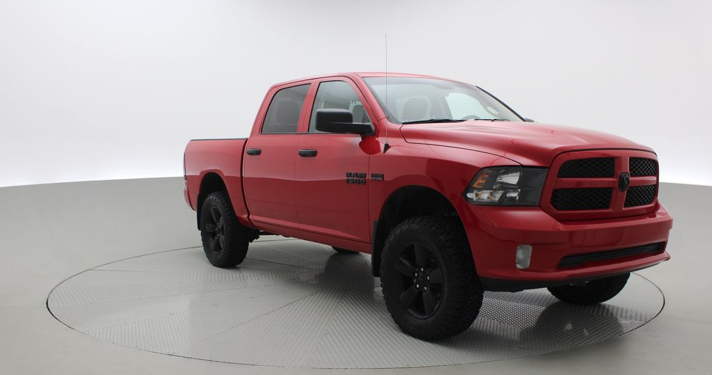 Red[Bright Red] 2018 Ram 1500 Express 4WD - Crew Cab, HEMI, RC Suspension Lift Left Front Corner Photo in Winnipeg MB