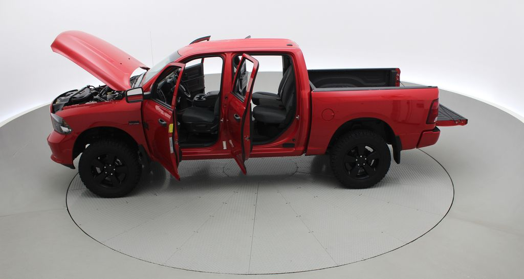 Red[Bright Red] 2018 Ram 1500 Express 4WD - Crew Cab, HEMI, RC Suspension Lift Left Side Photo in Winnipeg MB