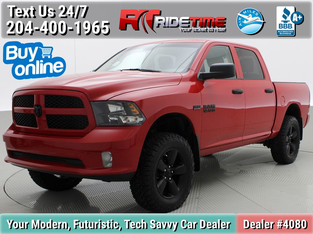 Red[Bright Red] 2018 Ram 1500 Express 4WD - Crew Cab, HEMI, RC Suspension Lift